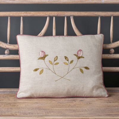 Embroidered Crossed Rosebuds Cushion