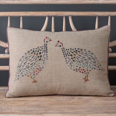Embroidered Guinea Fowl Cushion