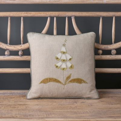 White Foxglove Embroidered  Linen Cushion