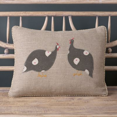 Applique Guinea Fowl Pair Rustic Linen Cushion