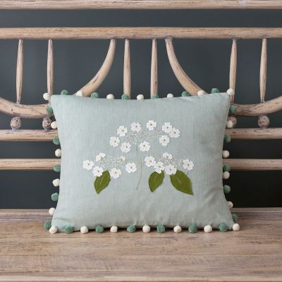 Duck Egg Embroidered Flower Cushion - Hydrangea