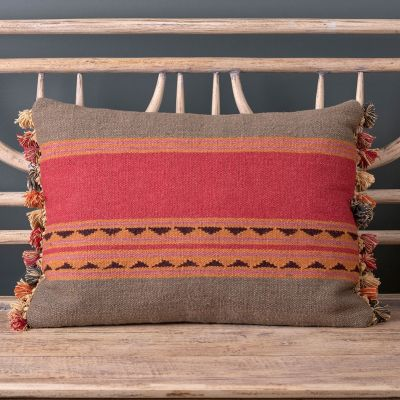 Jaipur Stripe Kilim Cushion with Tassels 55 x 40cm