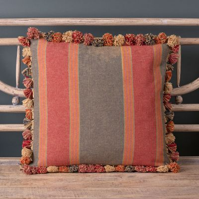 Jodhpur Stripe Cotton Cushion with Tassels 48 x 48cm