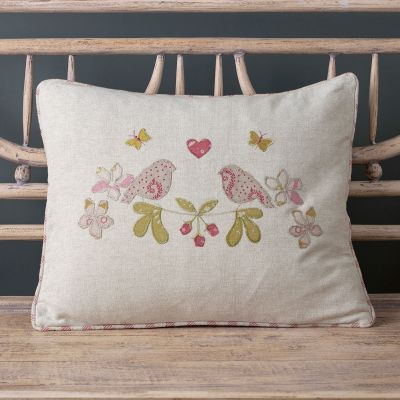 Linen Love Birds Cushion