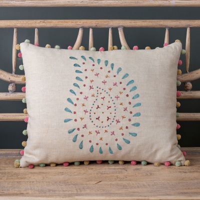 Embroidered Green Malathi Linen Cushion