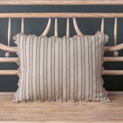 Ticking Stripe Cushion - Charcoal