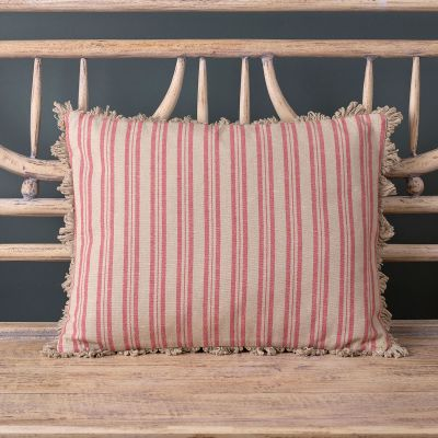 Rusty Rose Beech Ticking Stripe Cushion with Fan Edge