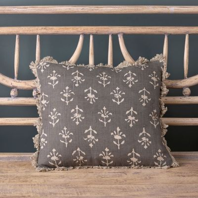 Charcoal Reverse Moonflower Linen Cushion