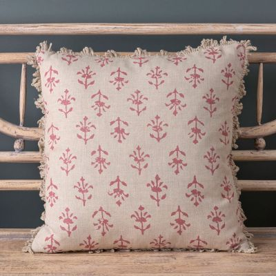 Large Indian Red Moonflower Linen Cushion - 48 x 48cm