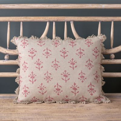 Indian Red Moonflower Linen Cushion