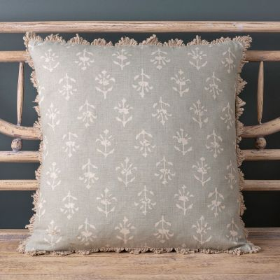 Large Smokey Blue Moonflower Linen Cushion - 48 x 48cm
