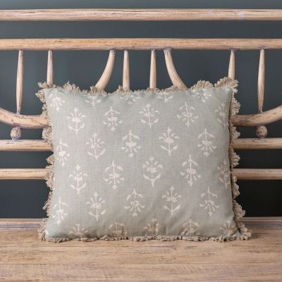 Smokey Blue Moonflower Linen Cushion - 40 x 35cm