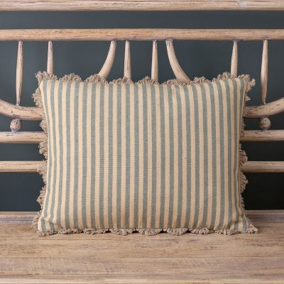 French Blue Natural Stripe Cotton Cushion
