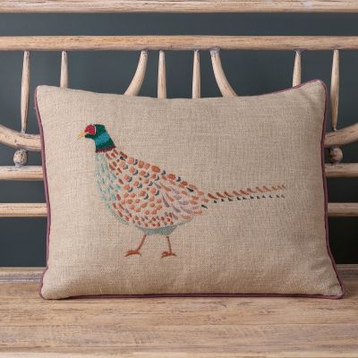 Embroidered Pheasant Cushion