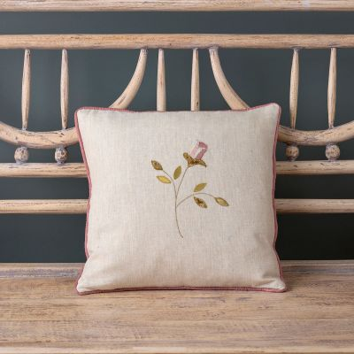 Embroidered Rosebud Linen Cushion