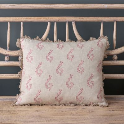 Linen printed cushion - red shalini