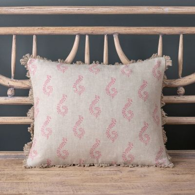 100% linen cushion in rose