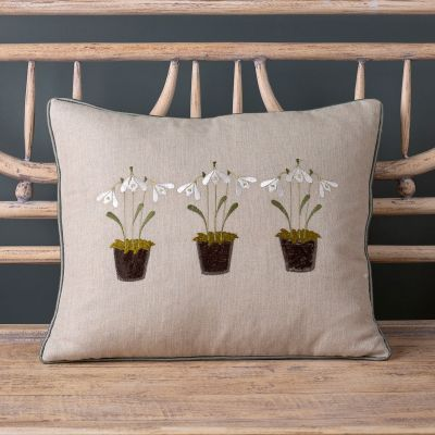 Embroidered Three Snowdrops Charcoal Linen Cushion