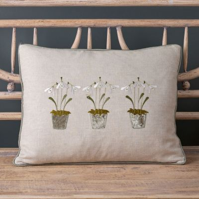 Embroidered Three Snowdrops Smokey Green Linen Cushion
