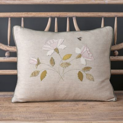 Embroidered White Rose Linen Cushion