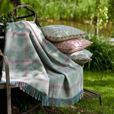 Rusty Rose Beech Ticking Stripe Cushion