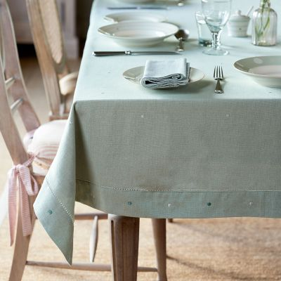 Duck Egg White Spot Tablecloth – Extra Large