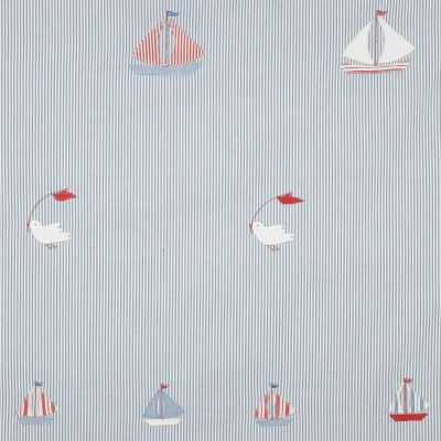 True Blue Bird & Boat Cotton Embroidered Panel – 127
