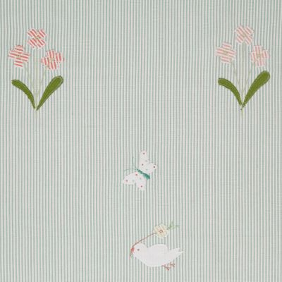 Duck Egg Bird & Flower Embroidered Panel – 128