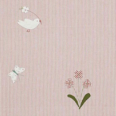 Pink Bird & Flower Cotton Embroidered Panel – 129