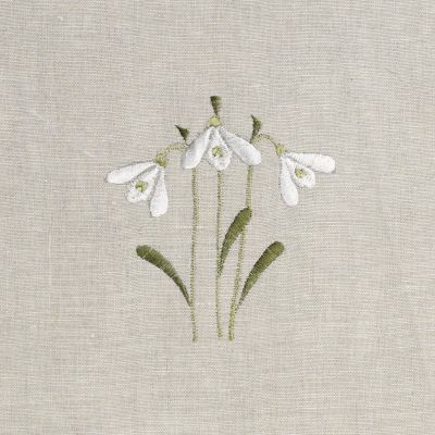 Snowdrop Embroidered Linen Panel - 138