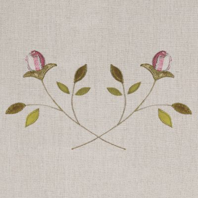 Embroidered Pink Rosebud Linen Panel – 142