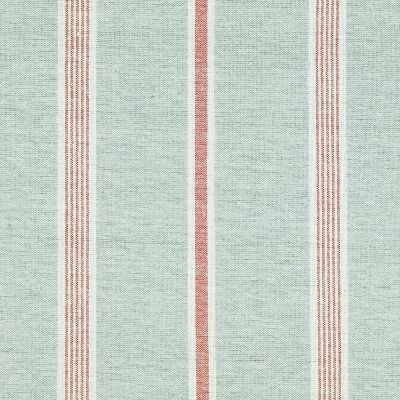 Duck Egg Red Henley Stripe Cotton – Double Width – 240a