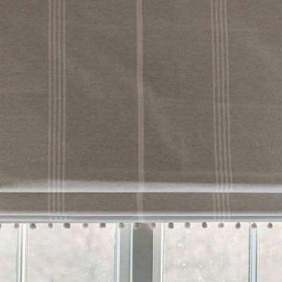 Roman Blind in Grey Ivory Oxford Stripe 94cm x 163cm