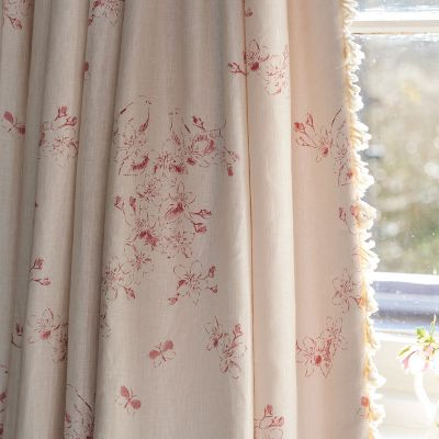 Raspberry Red Apple Blossom Toile Linen - 317