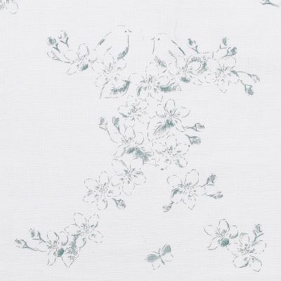 Smokey Blue Apple Blossom Toile Linen - 318