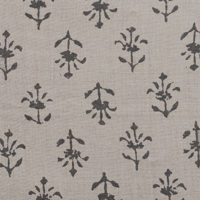 Charcoal Moonflower Printed Linen