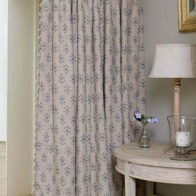 Single Curtain in Marine Blue Moonflower  150cm x 306cm
