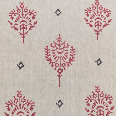 Indian Red Block-printed Akansha Linen - 341