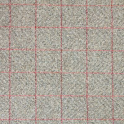 Grey Red Check Herringbone Wool Tweed – 405