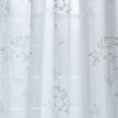 White Hydrangea Embroidered Linen Voile – 420