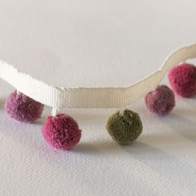 Olive, Rusty Rose and Violet Pompoms