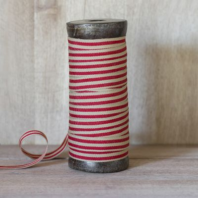 Red/Beech Stripe Cotton Ribbon - 25m Reel