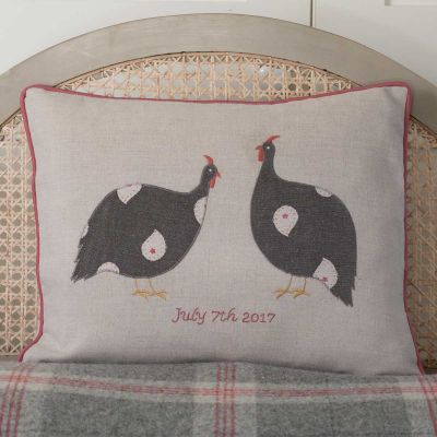 Personalised Applique Guinea Fowl Linen Cushion