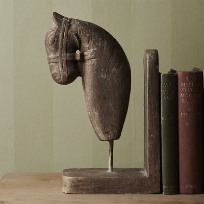 Hand-carved Horses Head Book End