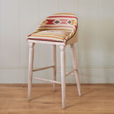 Saffron Stripe Upholstered Bar Stool