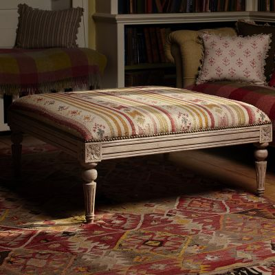 Carved Square Kilim Footstool