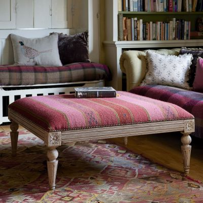 Damson Stripe Carved Square Kilim Footstool