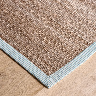 Hemp Rug – Marine Blue Dimity Stripe - Small