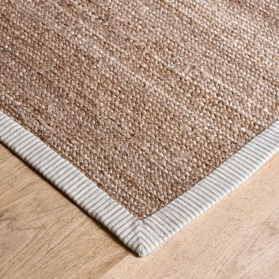 Hemp Rug – Charcoal Dimity Stripe - Small