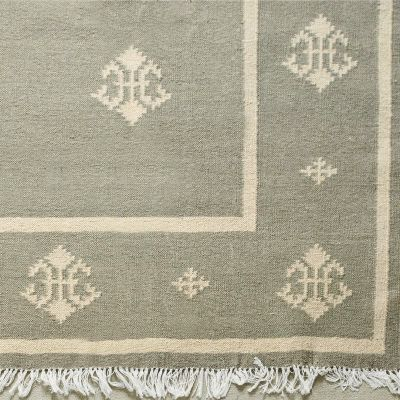 Seconds Handwoven Wool Kilim Rug - Sea Grey Fleur de Lis